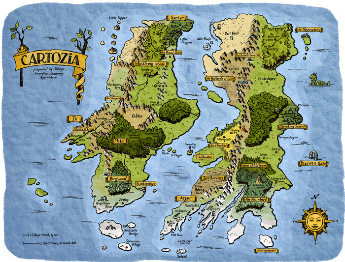 A map of Cartozia, as of yet incompletely explored