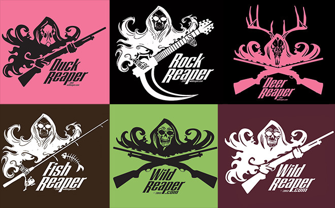 Reaper Color Combinations:  The logos come in Black, White and Pink. These can be produced on t-shirts that are pink, black, chocolate, lime (female only) or maroon.