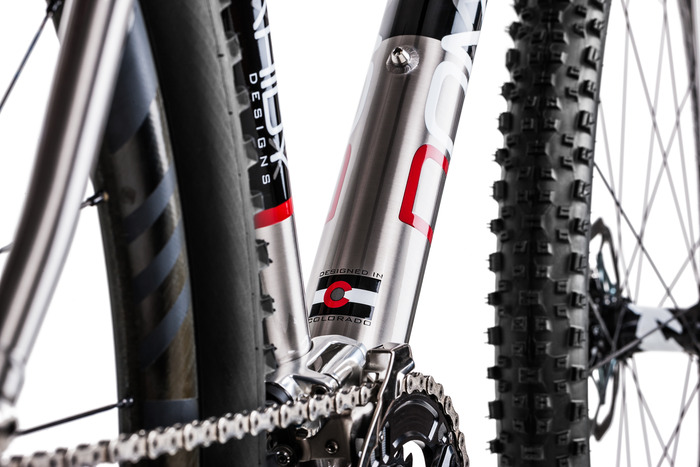 Domahidy Designs Titanium 29er hardtail, designed in Colorado