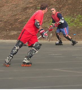 Co-Founder D.J. Sherman playing beach roller hockey in Santa Monica