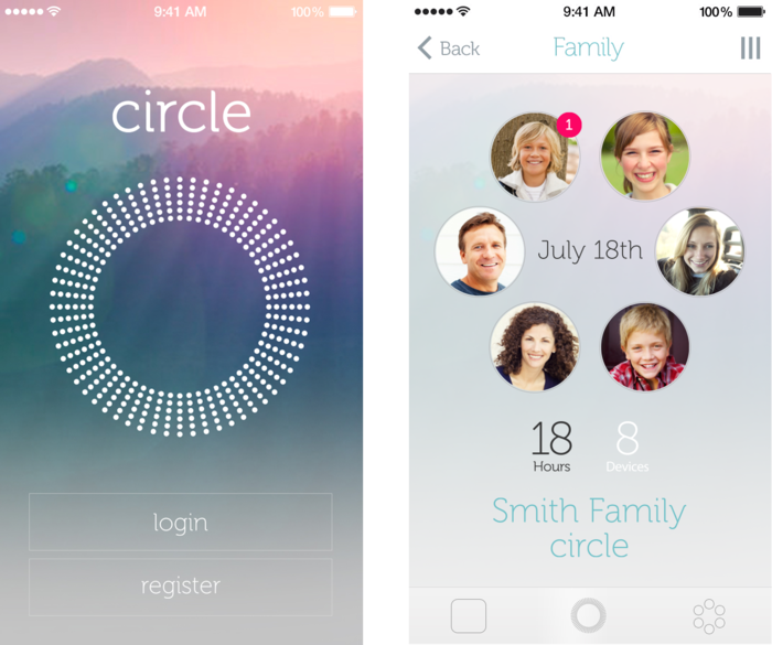 Circle login and home screen
