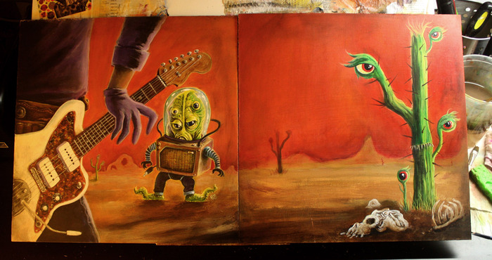 Here's a sneak peak at Robert Jimenez's original artwork for the front and back cover of the LP edition.