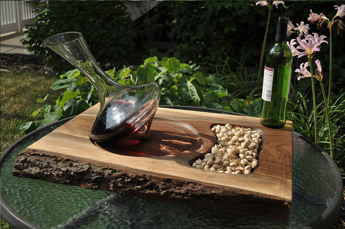 Decanter with Black Walnut Service tray featuring a live edge