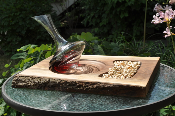 All Glass Decanter with Black Walnut Service Tray featuring a live edge