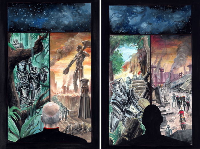 Page 1 (left) and Page 1 (right) of original pages from Star Trek: The Next Generation/Doctor Who: Assimilation2 comic by J.K. Woodward