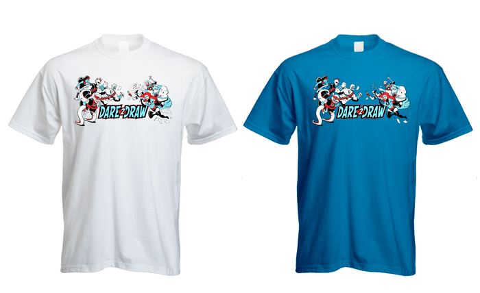 Choice of T-shirt colors: White, Blue and Grey