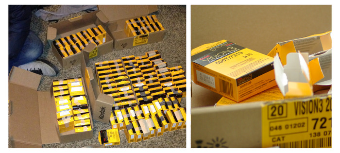 Our movie: A bunch of boxes of film waiting for your help.