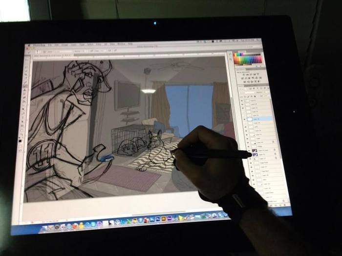 Animating a scene on the Cintiq Tablet.