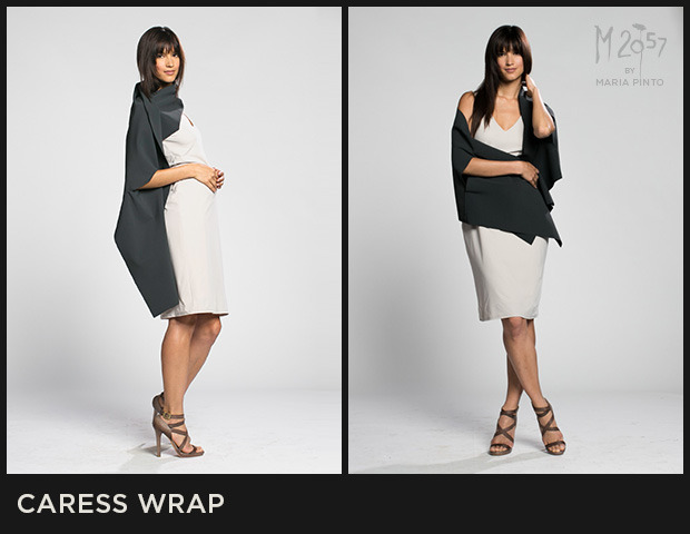 Wrap with slits for arms to slide through and cut edges / Can be worn as a wrap or large scarf / Form jersey / Shown here in Cargo with the Reverse dress / $175