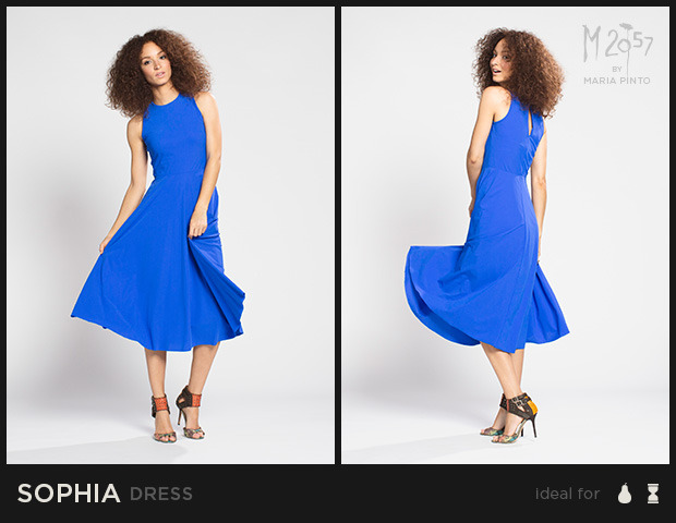 "Sleeveless dress with a fitted bodice and flowy circle skirt that falls below the knee / Liquid jersey with ""2nd skin"" slip / Waist to hem: 30"" / Shown here in Radar Blue / $250"