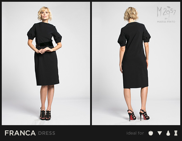 "Shift dress with a bateau neckline, sculpted sleeves, and cut edges / Form jersey / Waist to hem: 25"" / Shown here in Black / $250"