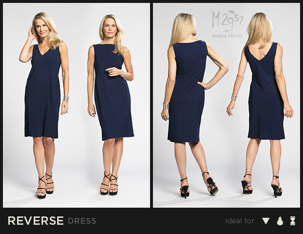 "Two dresses in one! Can be worn as either a V-neck or Bateau neckline / Liquid jersey with ""2nd skin"" slip / Waist to hem: 25"" / Shown here in Midnight / $250"
