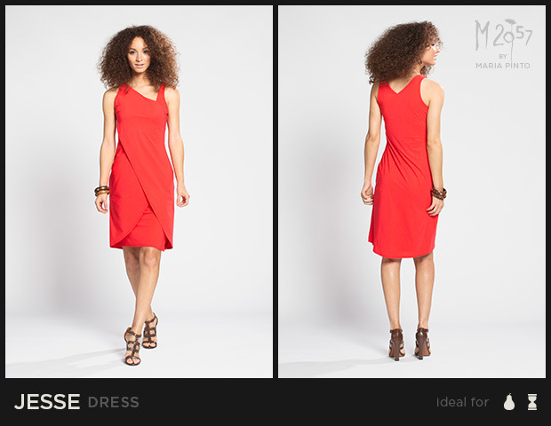 "Sleeveless dress with a fitted bodice and asymmetrical neckline, layered skirt has a side slit / Liquid jersey with a ""2nd skin"" slip / Waist to hem: 25"" / Shown here in Kickstarter Red / $250"