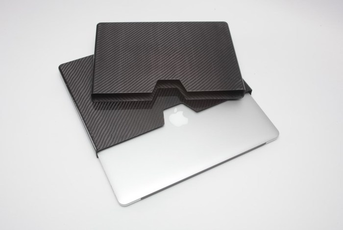 Each case is custom fit for a specific laptop model.