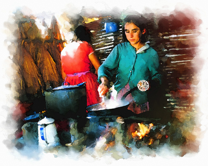 """""""Cooking Frijoles"""" 30"""" X 24"""" Archival Giclèe Print"""