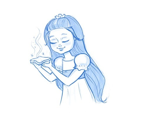 "Pencil Sketch: ""Gwendolyn with Magic Toast"" Available in Pixie Dust Prints Rewards"