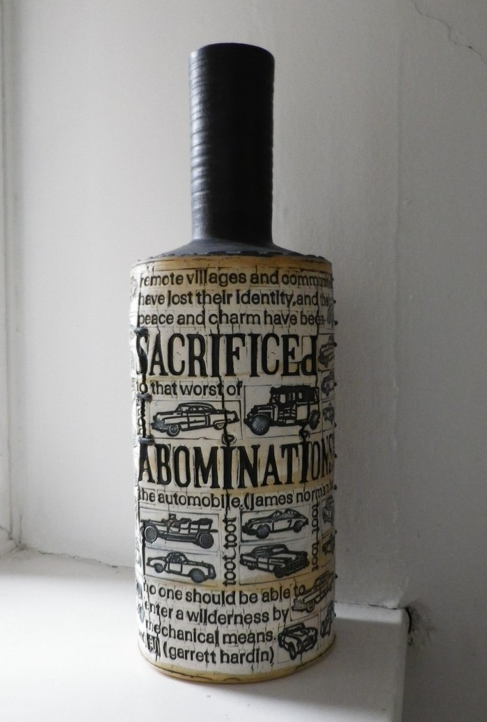 Printed and Stiched Ceramic Bottle by Andrew Adair