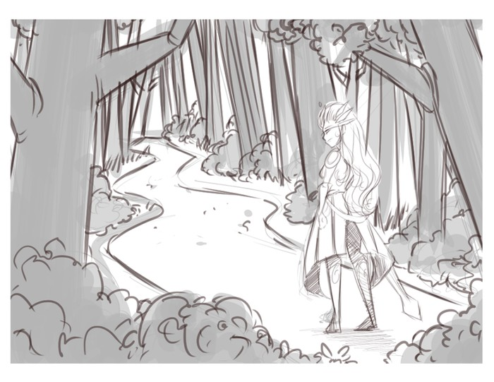 Leona enters the forest on way to confront Diana