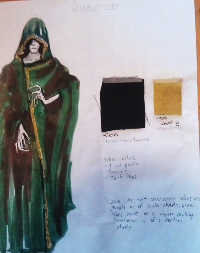 Summoner robe art, handed off to designer.