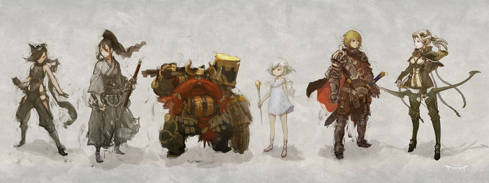 Rough concept sketches of characters & classes from Project Phoenix by GONTARO