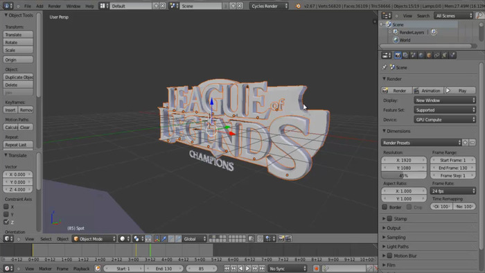 Still from making the 3D intro from our amazing editors
