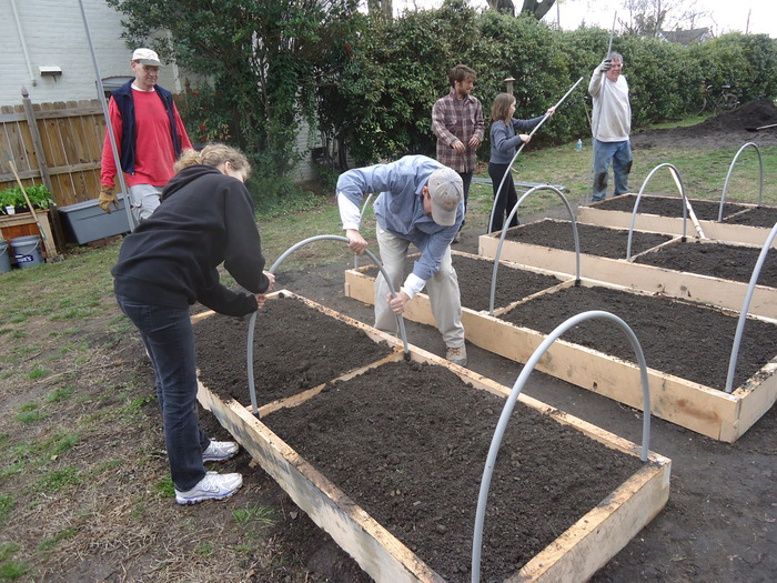 Raised Beds being installed at a garden; these are made of white oak