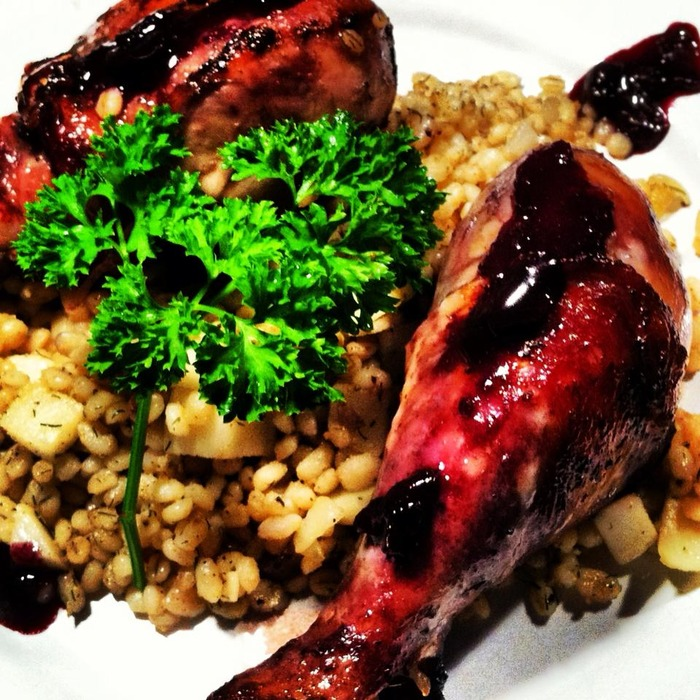 Duck in a Blueberry Marsala Reduction Accompanied by Sauteed Barley, Turnips and Onions