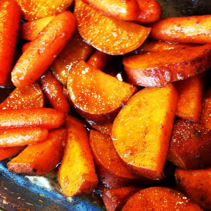 Maple Ginger Candied Sweet Potatoes and Carrots
