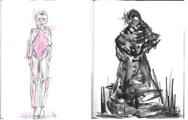Two of 6 costume sketches by Baille Younkman.