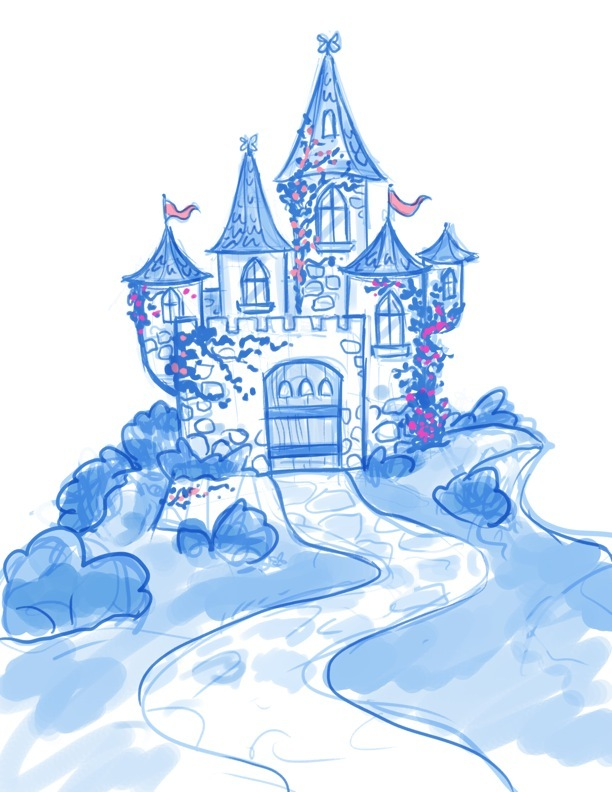 "Pencil Sketch: ""Casandra & Gwendolyn's Castle"" Available in Pixie Dust Prints Rewards"