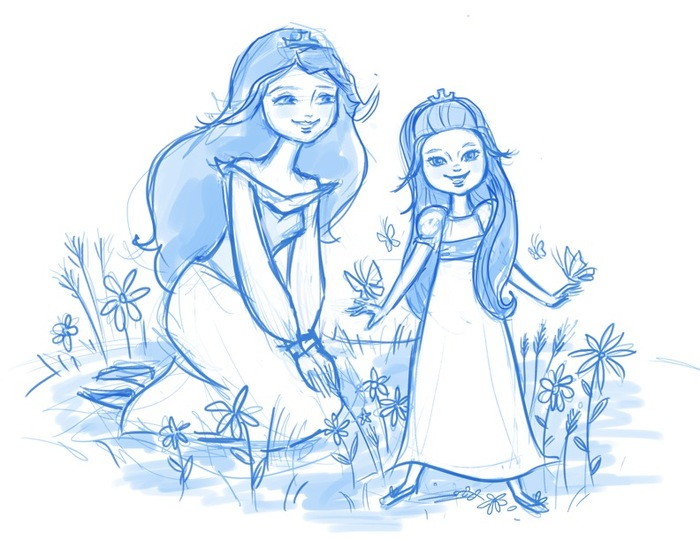 "Pencil Sketch: ""Casandra & Gwendolyn in the Meadow"" Available in Pixie Dust Prints Rewards"