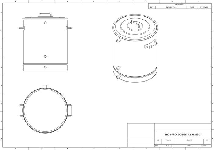 Updated ProBoiler(tm) 20 CAD showing false bottom shelf and other modifications