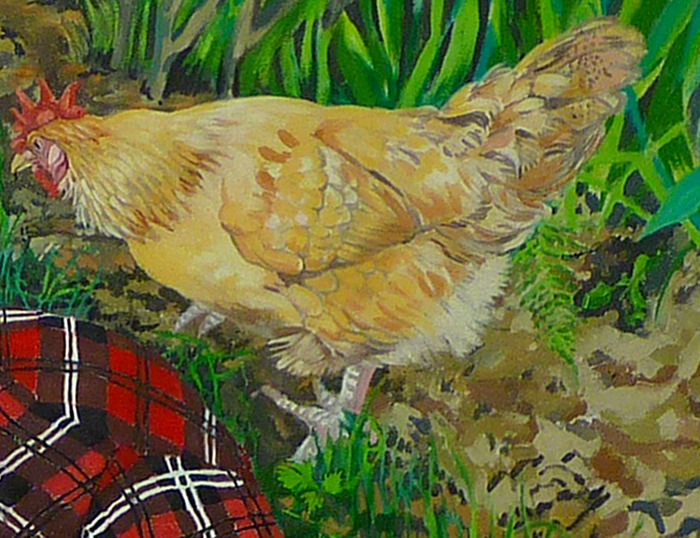 $75.00 & $100.00 Pledges: Oil Nature Study. Size depends on pledge amount. (Example is a chicken portrait.)