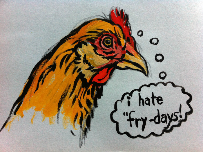 $10.00 Pledge: Wisecracking Chicken Illustration.