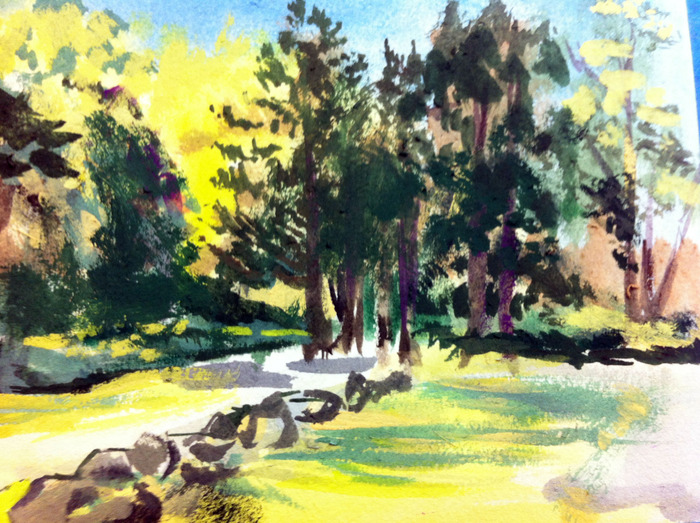 $20.00 Pledge: Gouache Nature Study. (Example is a landscape.)