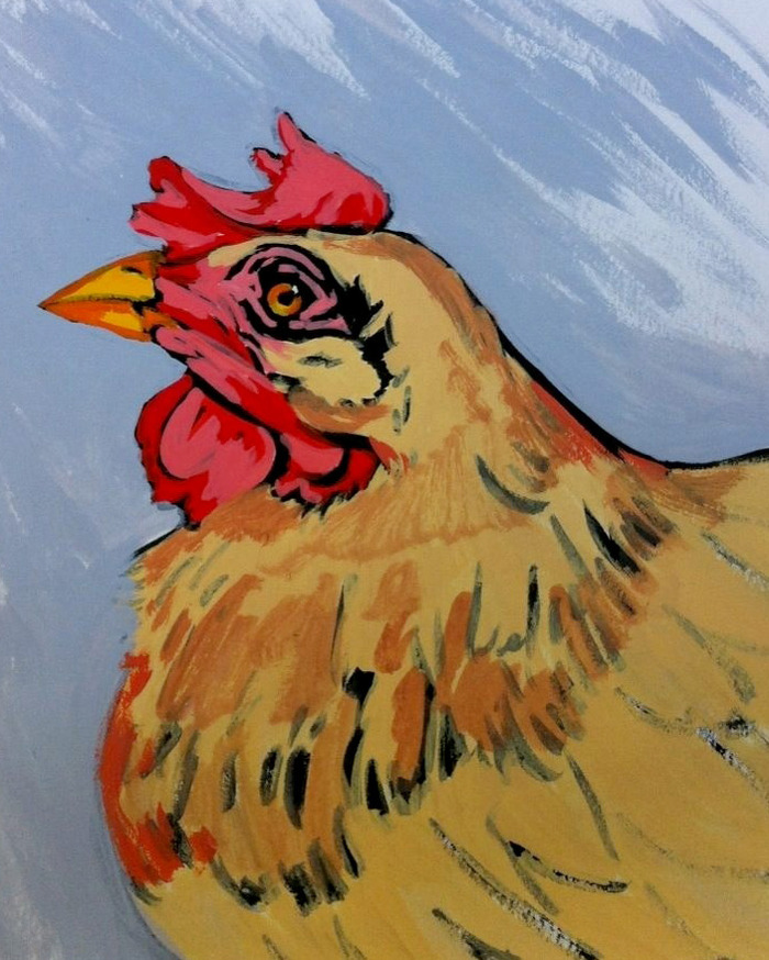 $20.00 Pledge: Gouache Nature Study. (Example is a chicken portrait.)