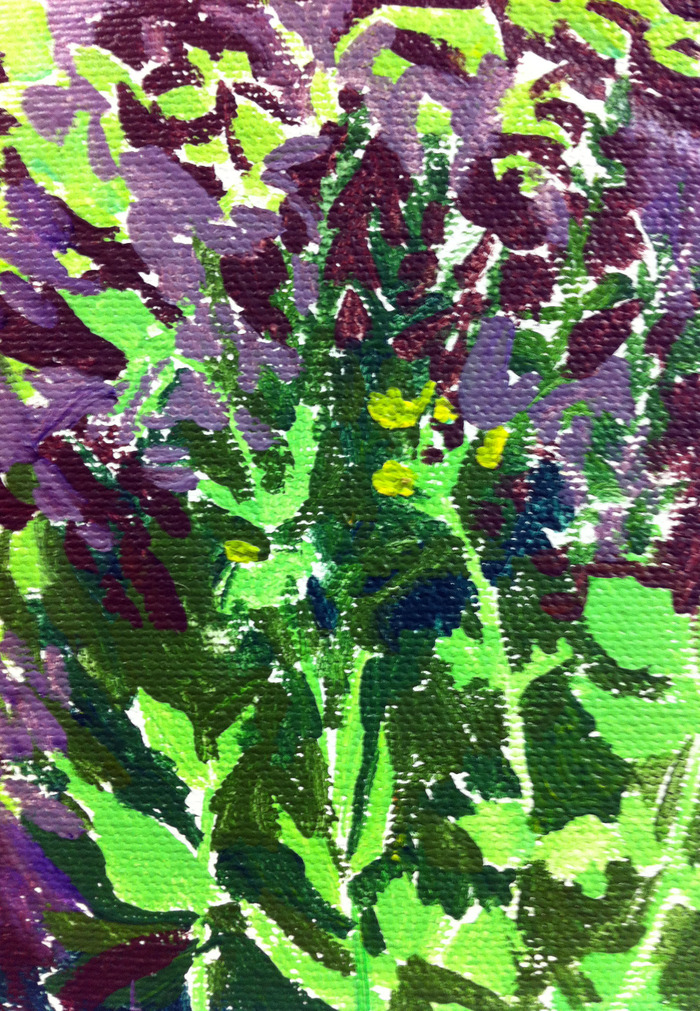 $35.00 & $50.00 Pledges: Acrylic Nature Study. Size depends on pledge amount. (Example is a foliage study.)