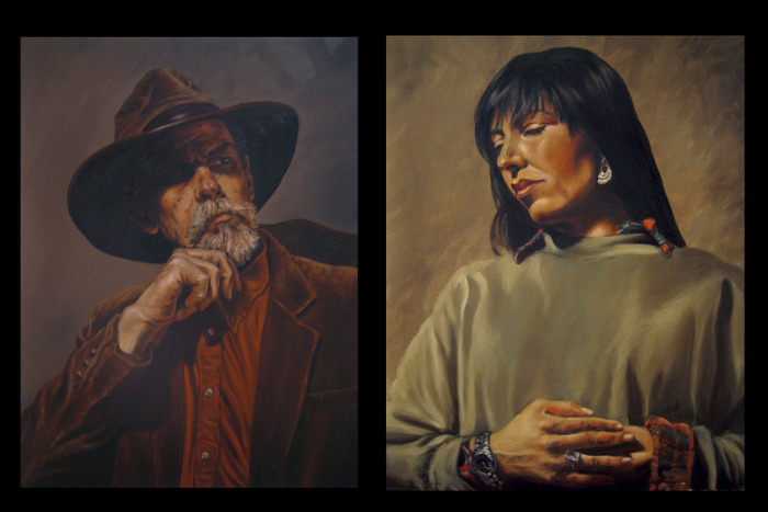 'The Cowboy' & 'The Native'. Original Oil Paintings.