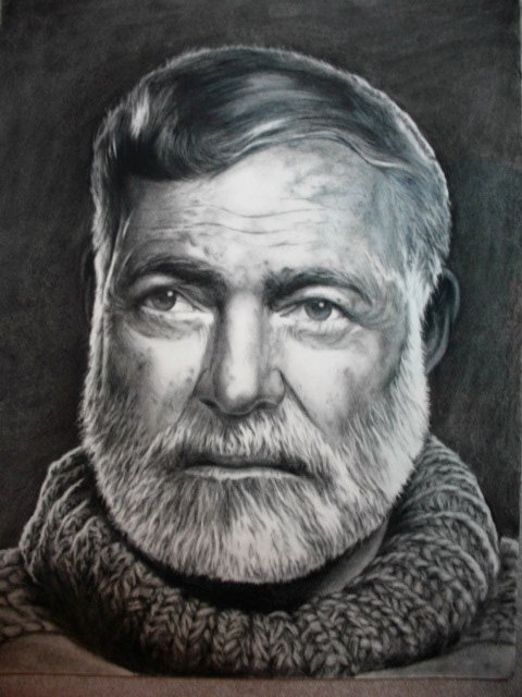 'Hemingway'. Original Charcoal Drawing.