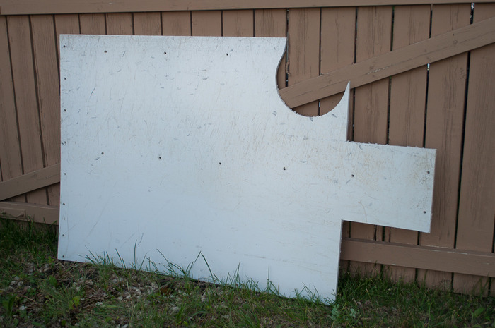 Hockey Rink Board Material with Sections Removed