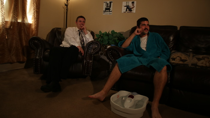 Eric (Trevor DiLucchio) and Shane (Shane Krall) on the set of White People Explain Ebonics.