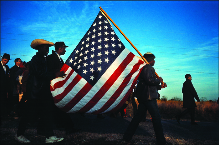 The Big Flag on the Hall Farm Road at the end of the first day of the Selma to Montgomery March, Dallas County, Alabama - 21 March 1965