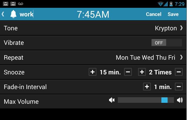 Customizable Alarm Settings