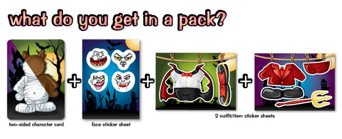 Pack = 1 two-sided charcter card + 3 sticker sheets