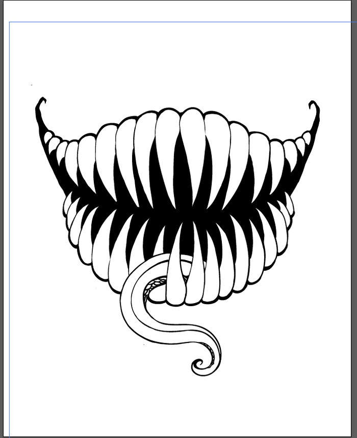 This is a picture of Delicate Scary Mouth Drawing
