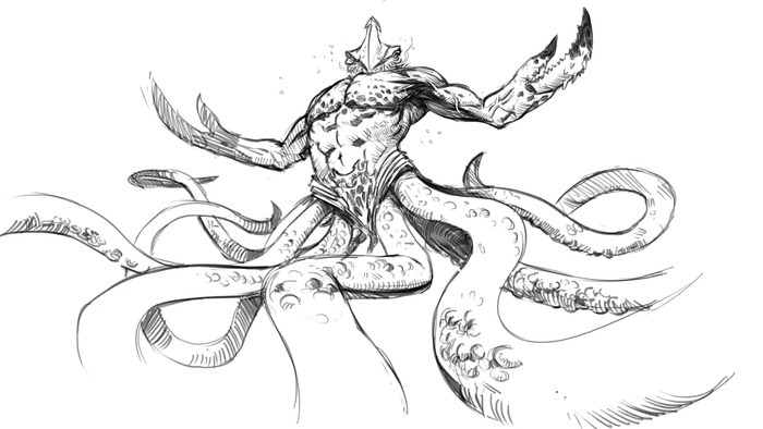 One of the Five Kraken Concept Sketches
