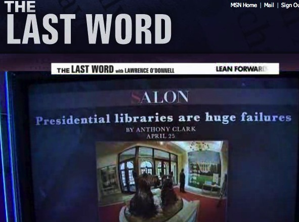 MSNBC's The Last Word with Lawrence O'Donnell quoting my Salon article