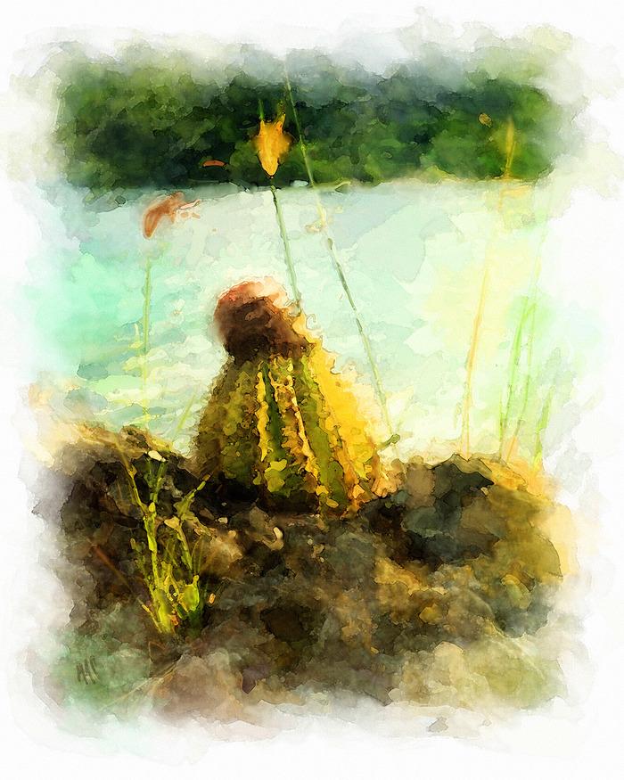 """Shoreline Cactus""  20"" X 24"" Archival Giclèe Print"