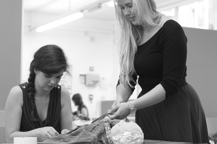 Flo and Marissa beginning to build a rehearsal puppet for The Hive - her name is 'Nabalu'