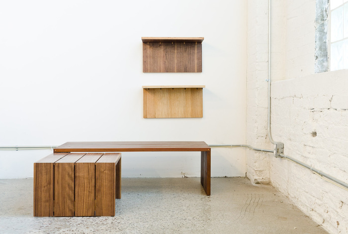 Profile Table and Shelf-by-the-Foot, the first two Made to Measure Modern designs.